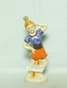 Occupied Japan Lady Dancing w a Fan Figurine - Product Image
