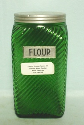 Forest Green Owens Ill. Square Slant Design Flour Canister - Product Image