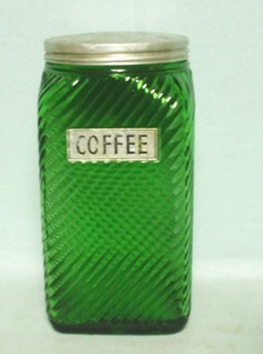 Forest Green Owens Ill. Square Slant Design Tea Canister - Product Image