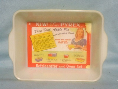 Pyrex Primary Color Yellow Large Refigerator Dish W Label - Product Image
