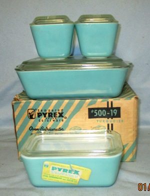 Pyrex Primary Color Turquoise 8 Pc Ref Dish Set NOS - Product Image