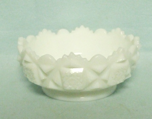 "Westmoreland Milkglass Old Quilt OQ-27 4 1/2"" Round Ftd. Bowl - Product Image"