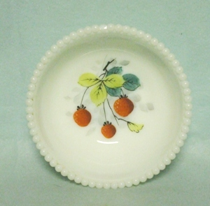 "Westmoreland Milkglass Beaded Edge w Strawberries 5"" Bowl - Product Image"