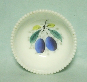 "Westmoreland Milkglass Beaded Edge w Plums 5"" Bowl - Product Image"