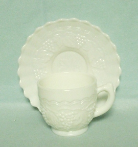 Imperial Glass Milkglass Grape Pattern Cup & Saucer Set - Product Image