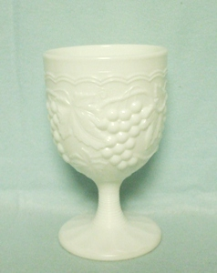 Imperial Glass Milkglass Grape Pattern Footed Water Goblet - Product Image