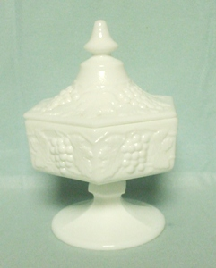 Imperial Glass Milkglass Ftd. Octagonal Grape Pattern Candy & Lid - Product Image