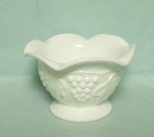Imperial Glass Milkglass Ftd. Grape Pattern Candy or Nut Dish - Product Image