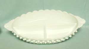 "Fenton Hobnail Milkglass #3740 12"" Divided Relish - Product Image"
