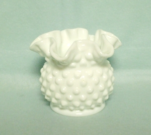 "Fenton Hobnail Milkglass #3853 3"" DC Vase - Product Image"