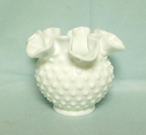 "Fenton Hobnail Milkglass #3852 4"" DC Vase - Product Image"