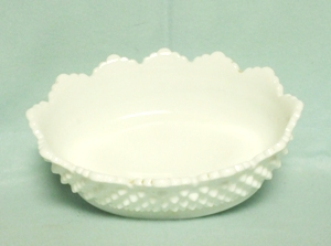 "Fenton Hobnail Milkglass #3625 8"" Oval Bowl - Product Image"