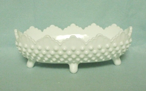 "Fenton Hobnail Milkglass #3640 8"" Oval Ftd Pickle Dish - Product Image"