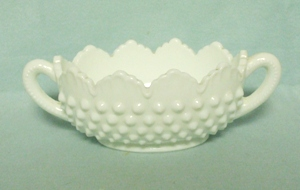 Fenton Hobnail Milkglass #3633 Small Oval Nut Dish - Product Image