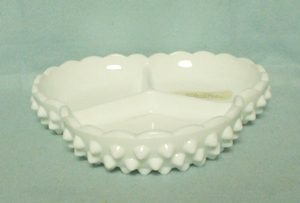 "Fenton Hobnail Milkglass #3833 7 1/2"" 3 Part Divided Relish - Product Image"