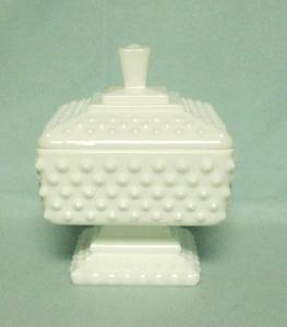 Fenton Hobnail Milkglass #3780 Wedding Jar & Lid - Product Image