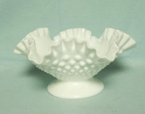 "Fenton Hobnail Milkglass #3727 8"" Low Footed Comport - Product Image"