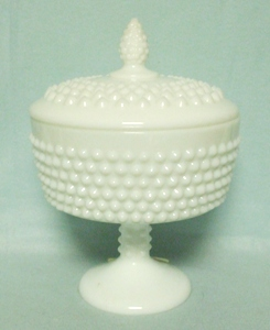 Fenton Hobnail Milkglass #3885 Ftd Candy Jar w/ Pointed Knob Cover - Product Image