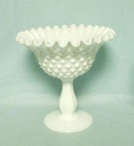 "Fenton Hobnail Milkglass #3627 5 1/2"" Peanut Dish - Product Image"