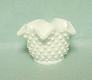 "Fenton Hobnail Milkglass #3921 5"" Star Bonbon - Product Image"