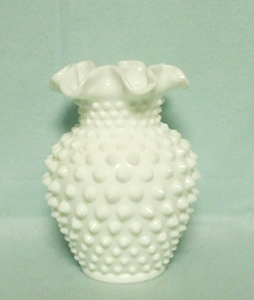 "Fenton Hobnail Milkglass #3656 5 1/2"" Double Crimped Vase - Product Image"