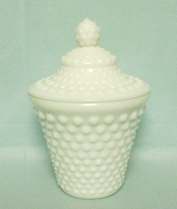 Fenton Hobnail Milkglass #3886 Honey Jar & Lid - Product Image