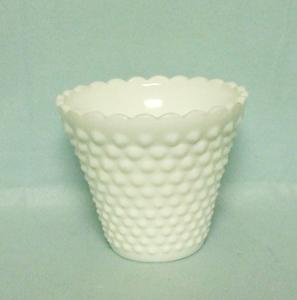 "Fenton Hobnail Milkglass #3994 4 1/2"" Jardiniere - Product Image"