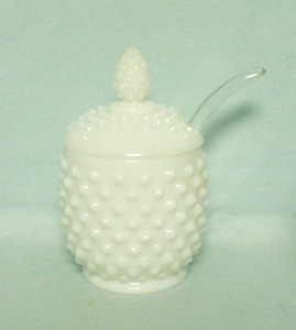 Fenton Hobnail Milkglass #3601 Jam Jar & Lid w/ Ladle - Product Image
