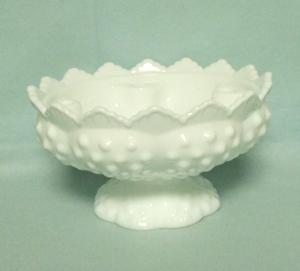 "Fenton Hobnail Milkglass #3872 6"" Candle Bowl - Product Image"