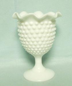 "Fenton Hobnail Milkglass 5 1/2"" Ftd Crimped Vase - Product Image"
