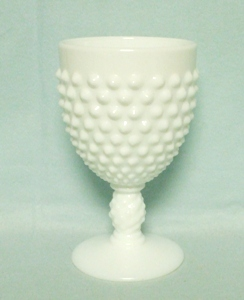 "Fenton Hobnail Milkglass #3845 5 1/2"" Ftd Water Goblet - Product Image"