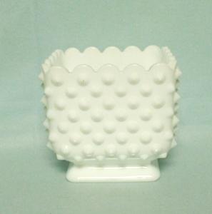 "Fenton Hobnail Milkglass #3699 4 1/2"" Square Planter - Product Image"