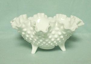 "Fenton Hobnail Milkglass #3635 8"" 3-Toed Bowl - Product Image"