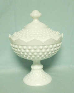 "Fenton Hobnail Milkglass #3784 6"" Covered Candy Dish - Product Image"