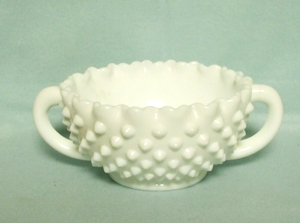 "Fenton Hobnail Milkglass #3935 5"" 2 Handled Bonbon - Product Image"