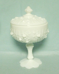 Fenton Milkglass Rose Covered Candy Dish - Product Image