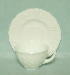 Indiana Glass Milkglass Harvest Grape Pattern Cup & Saucer Set - Product Image