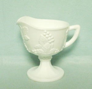 Indiana Glass Milkglass Harvest Grape Pattern Footed Creamer - Product Image