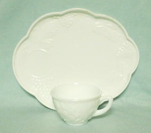 Indiana Glass Milkglass Harvest Grape Pattern Snack Tray & Cup - Product Image