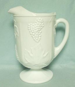 Indiana Glass Milkglass Harvest Grape Pattern Ftd Pitcher - Product Image