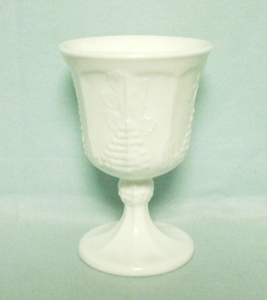 Indiana Glass Milkglass Harvest Grape Pattern Ftd Goblet - Product Image