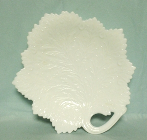 "Milkglass Large Leaf Design 11 1/2"" Plate or Platter - Product Image"