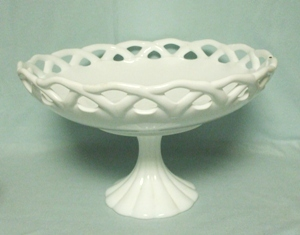 "Milkglass Large 12"" Open Lace Edge Compote - Product Image"