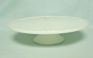 "Milkglass Low 10"" Cake Stand w Design - Product Image"