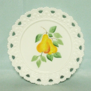"Milkglass Kemple Lacey Edge 7 1/4"" Hand Painted Pear Plate - Product Image"
