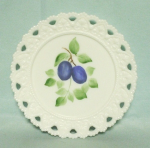 "Milkglass Kemple Lacey Edge 7 1/4"" Hand Painted Plum Plate - Product Image"
