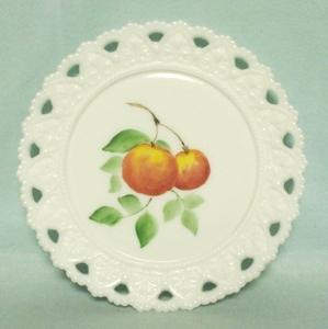 "Milkglass Kemple Lacey Edge 7 1/4"" Hand Painted Peach Plate - Product Image"