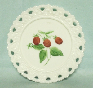 "Milkglass Kemple Lacey Edge 7 1/4"" Hand Painted Strawberry Plate - Product Image"