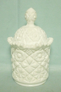 Milkglass Fostoria Hobstar Covered Sugar - Product Image