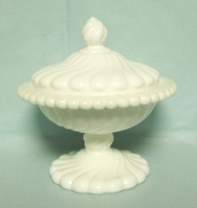 "Milkglass Fostoria Colony Pattern 6"" Covered Compote - Product Image"